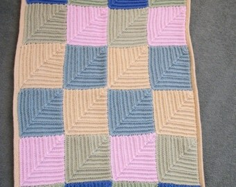"Mitred Square Blanket 33"" x 22"", Baby blanket, Pet Blanket, Wheelchair Blanket, Car Blanket, Hand Knitted"