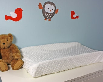 Changing Pad Cover - Minky / White Changing Pad Cover