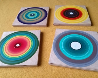 Set of 4 tree ring paintings, Abstract wall art, Acrylic painting, Wooden circles, Multicolored art,Gift ideas,Wooden rounds, Reclaimed wood