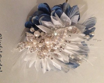 Feather Hair Accessory, Wedding Hair Accessory, Crystal Bridal Hair Piece, Pearl Headpiece, Bridal Headpiece, Crystal and Pearl Hair Clip