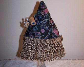 Whimsical , Sewing Fabric Pincushion , 11 X 6 ,  Home Decor , Fabric Craft , Fringe , Glass Pedestal Base , Handmade
