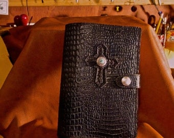 "Black Leather Bible Cover size 5"" by 8"" with embossed croc leather. Bible included."