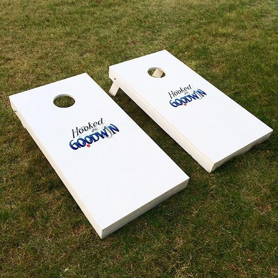 Custom Monogram Wedding Cornhole Boards Painted With Wedding Logo