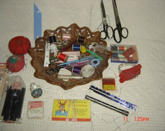 Vintage Sewing Supplies Accesories Lot with Carved Wooden tray