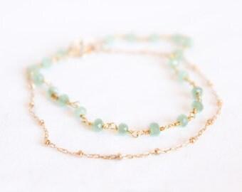 Sea Foam Chalcedony Bracelet Set - Gemstone Beaded Bracelet - Stacking Bracelet - Layering Bracelet - Simple Gold Bracelet - Mint Teal Thin