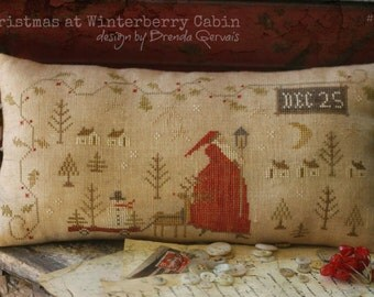 """WITH THY NEEDLE & Thread """"Christmas at Winterberry Cabin""""   Primitive Cross Stitch Pattern   Santa in Village, Snowman, Reindeer, Holly"""