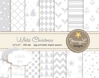 White Christmas Digital Papers, Christmas Tree Papers, Silver and White Christmas Papers, Holiday Digital ScrapbookingPaper,