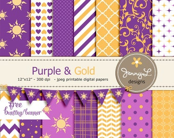 Purple and Yellow Gold Princess Digital Papers, Inspired Printable Digital Background Papers, Sun, hearts, Chevron, Flourish, Quatrefoil