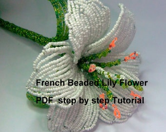 Beaded Lily Flower Pattern,PDF Beading Tutorial, Home Decor, Pattern, Seed Bead Tutorial, PDF Beaded White Lily Flower Pattern