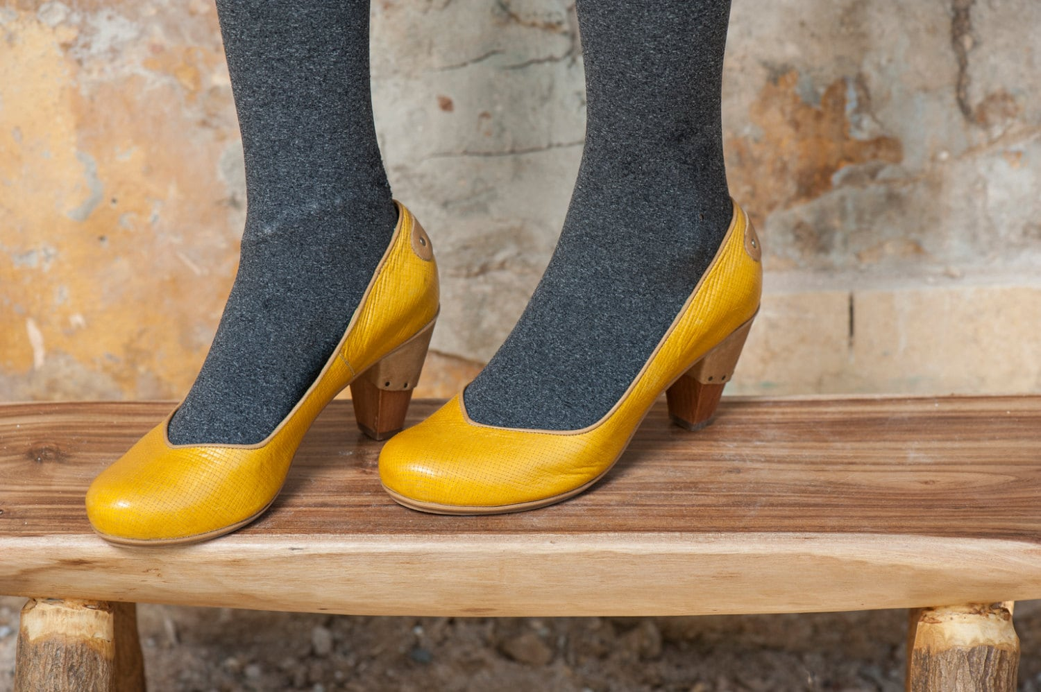 mustard high heel leather shoes by ellenrubenbagsshoes