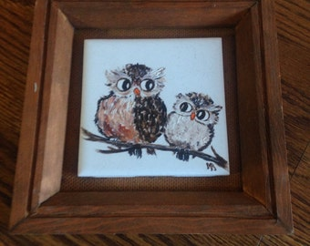 Sale Reduced Price Vintage Tile Wall Art Hand Painted Owl Duo Framed