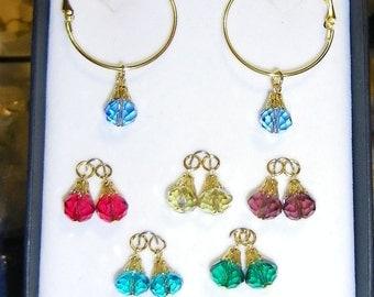 Crystal Dreams 'Rainbow Jewels' Hoop Earrings Set