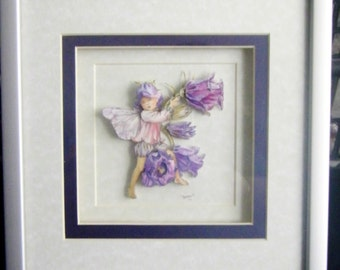 New Handcrafted Framed Decoupaged Faerie / Pixie Picture by Frances Mortimer for Mystic Elements~Canterbury Bell