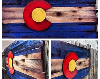 Wooden Colorado Flag- Shipping included Aged wood-Hand cut, Colorado Art, Rustic. Restaurant decor, Home Decor, Unique, Shabby