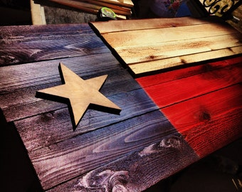 Texas State flag- Aged Wood, Hand cut, Rustic, Sanded.