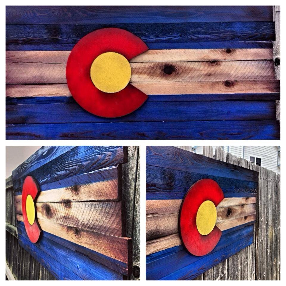 Wooden Colorado Flag Shipping Included Aged Wood Hand Cut Colorado Art Rustic