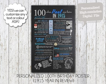 Personalized 100th Birthday Poster, 1915 OR 1916 Digital Chalkboard, 1915 OR 1916 events birthday anniversary High Resolution Digital File