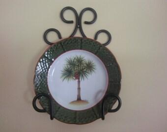 Metal plate rack, plate holder, plate hanger, plate display, wall mounted trivt holder, trivt rack, black wrought iron