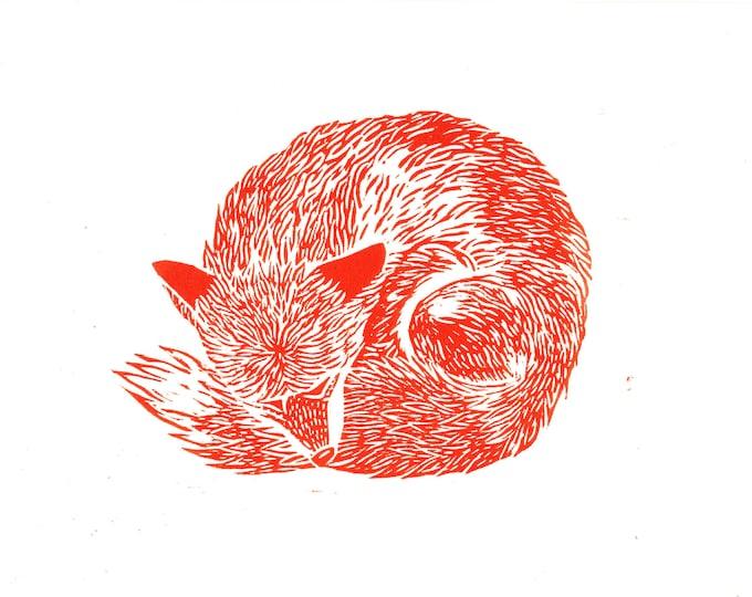 Red Fox Sleeping Original Linocut Block Letterpress Hand Pulled Print Animals