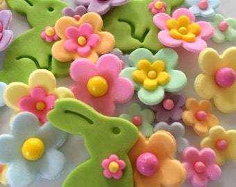 Pastel Easter Sugar Flowers Rabbits Cupcake Toppers Cake Decorations