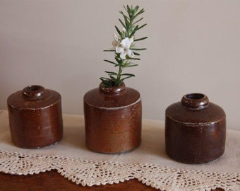 Antique stoneware inkwells - collection of 3