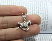 Horse charms ( double sided ) 15*20mm antique silver tone horse connector