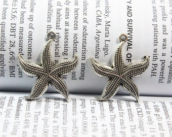 3 pcs Starfish charms 26mm antique silver tone Starfish Charm pendants
