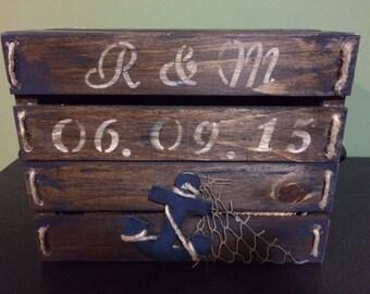 Wood Nautical Card Box
