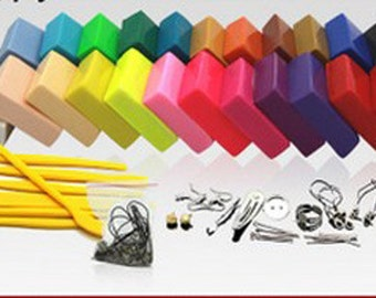 24 Colors Polymer Clay with Tool Resin Material Craft Clay Plasticine