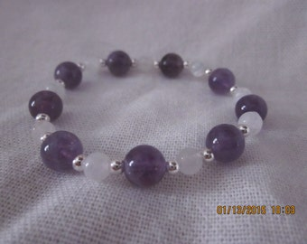 Amethyst and moonstone stretch bracelet