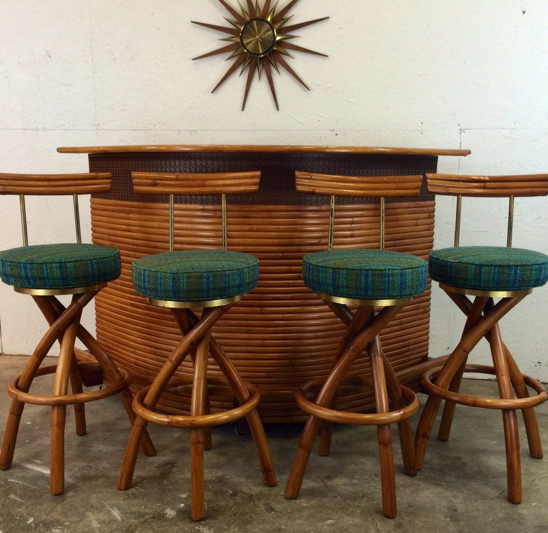 Outdoor Tiki Bar Stools : 50s Tiki Bar and Bar Stools Iconic Hukilau by LilasLounge on Etsy