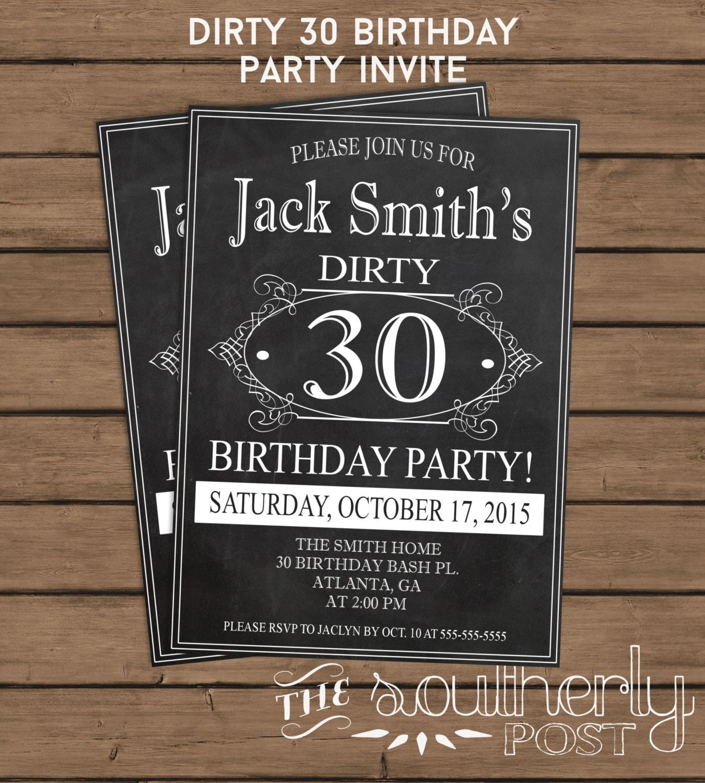 Dirty 30 Birthday Party Invitation 30th Birthday Thirty
