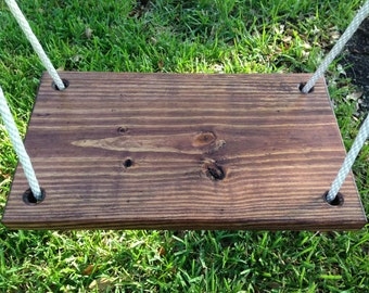 """Handcrafted Wooden Bench Swing (20"""" x 11.25"""" x 1.5"""")"""