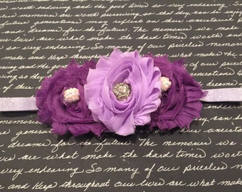 Purple Shabby Chic Flower Headband, Purple Ombre, Purple glitter headband, Purple headbands Baby Headbands