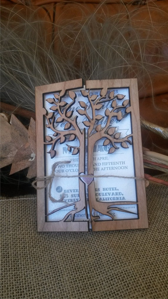 Engraved Wood Wedding Invitation / Rustic Handmade Wedding Invitations/ tree of life  Wedding-Invitation / Vintage Wooden Invitation