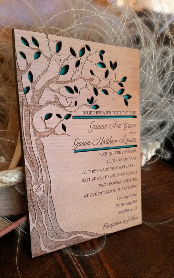 Tree wedding invitation / wood wedding invitation / engraved wedding invitation / laser cut