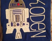 R2D2 inspired custom embroidered shirt