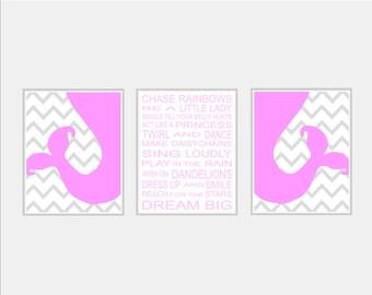 Baby Girl Nursery Art Prints Wall Art - Chevron Mermaid Nursery Art - Girl Rules Pink and Grey Nursery - Girl Bedroom Art Mermaid Bedroom