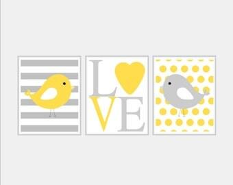 Baby Girl Nursery Décor - LOVE Bird Nursery Art - Baby Girl Bird Mustard Yellow and Grey Nursery Art - Baby Bird Nursery Decor - Choose Size
