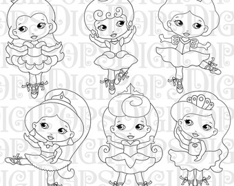 LITTLE PRINCESS BALLERINAS - Black and White Digital Clip Art  - Ballerina, Cinderella, Belle, Ariel, Snow White, Sleeping Beauty, Jasmine