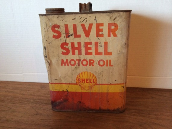 Vintage silver shell motor oil can company two 2 gallon for How to get motor oil out of wood