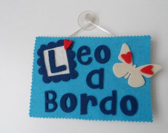 """Label """"baby on board"""" made also felt with custom name"""