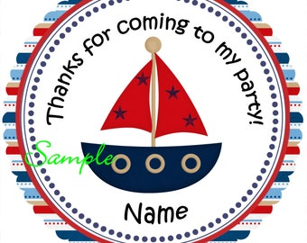 Sailboat nautical Personalized Stickers - Favor Labels, Party Favor Stickers, Birthday Stickers, Baby Shower