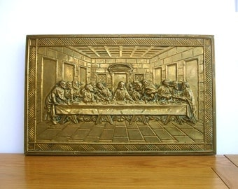 1950s The Last Supper Vintage Brass Wall Plaque Vintage Brass Wall Hanging of The Last Supper Vintage Religion Leonardo da Vinci