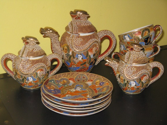 Antique Japanese Tea Sets With Dragon Satsuma Dragon Tea Set