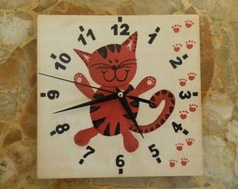 Cat clock  extra quiet clockwork  kitten black clock hand  handpainted  hand made  girls room  boys room  kids room  red  black, nursery