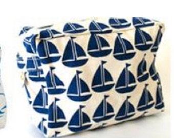 Blue Sailboat Cosmetic Bag
