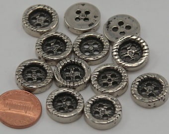 """Lot of 12 Shiny Concave Silver Tone Plastic Buttons 5/8"""" 16mm # 6500"""
