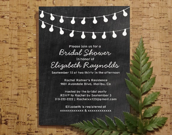 String Lights Bridal Shower Invitation Template by InvitationSnob