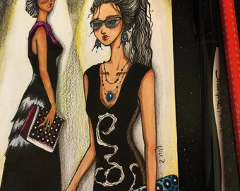 """ORIGINAL Fashion Illustration """"On A T-Stage"""", Pen and Ink/Watercolor/Color Pencil,Wall Art Home Decor, Gift for Fashionista, 5X6.25"""